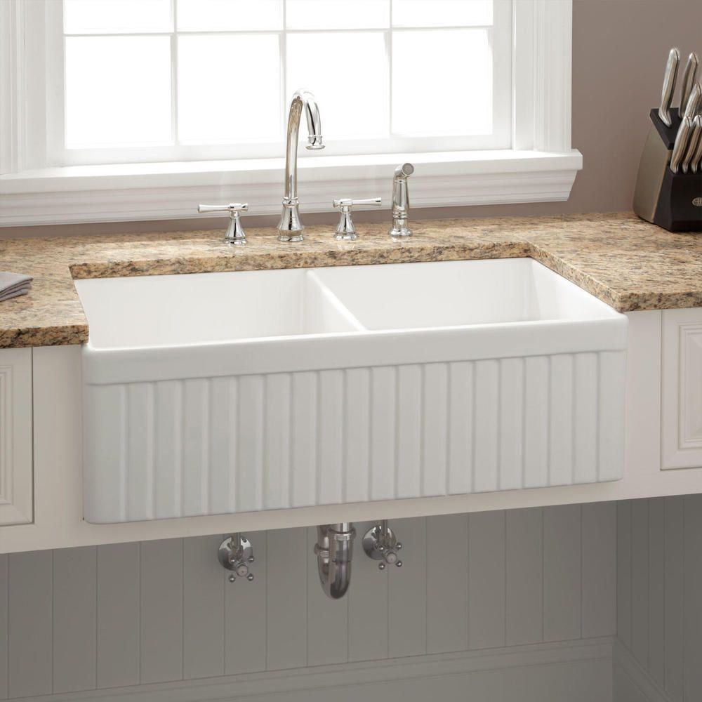 33 Baldwin Double Bowl Fireclay Farmhouse Sink With Fluted
