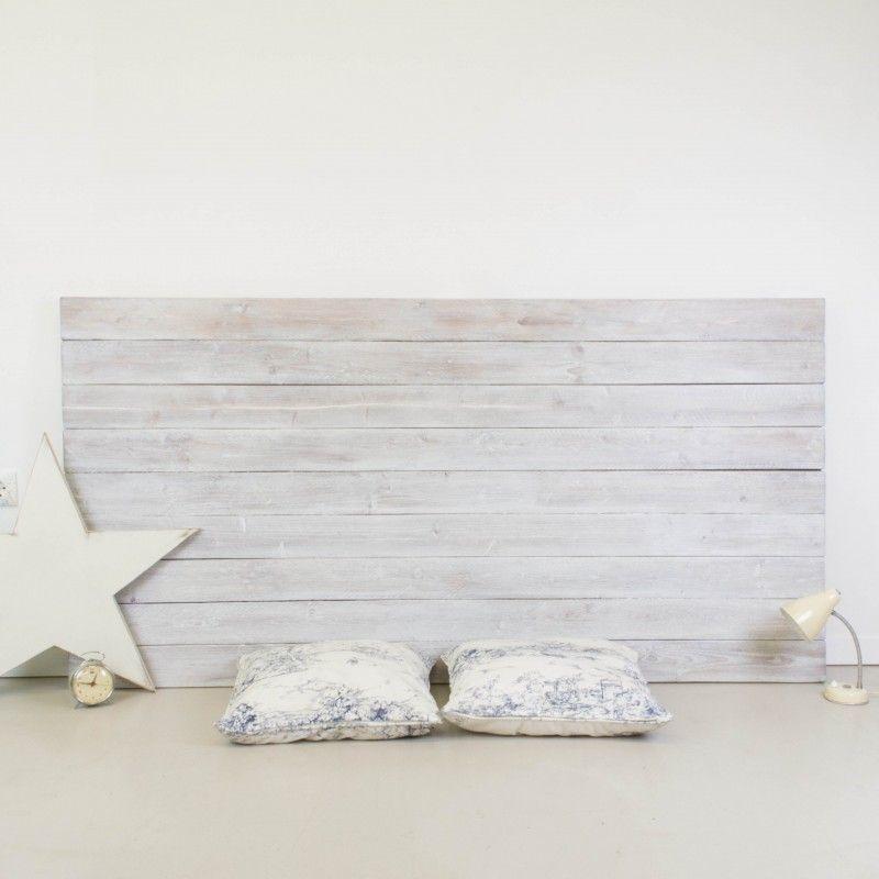 Cabecero de madera r stica acabado envejecido blanco - Cabeceros de madera blanco ...
