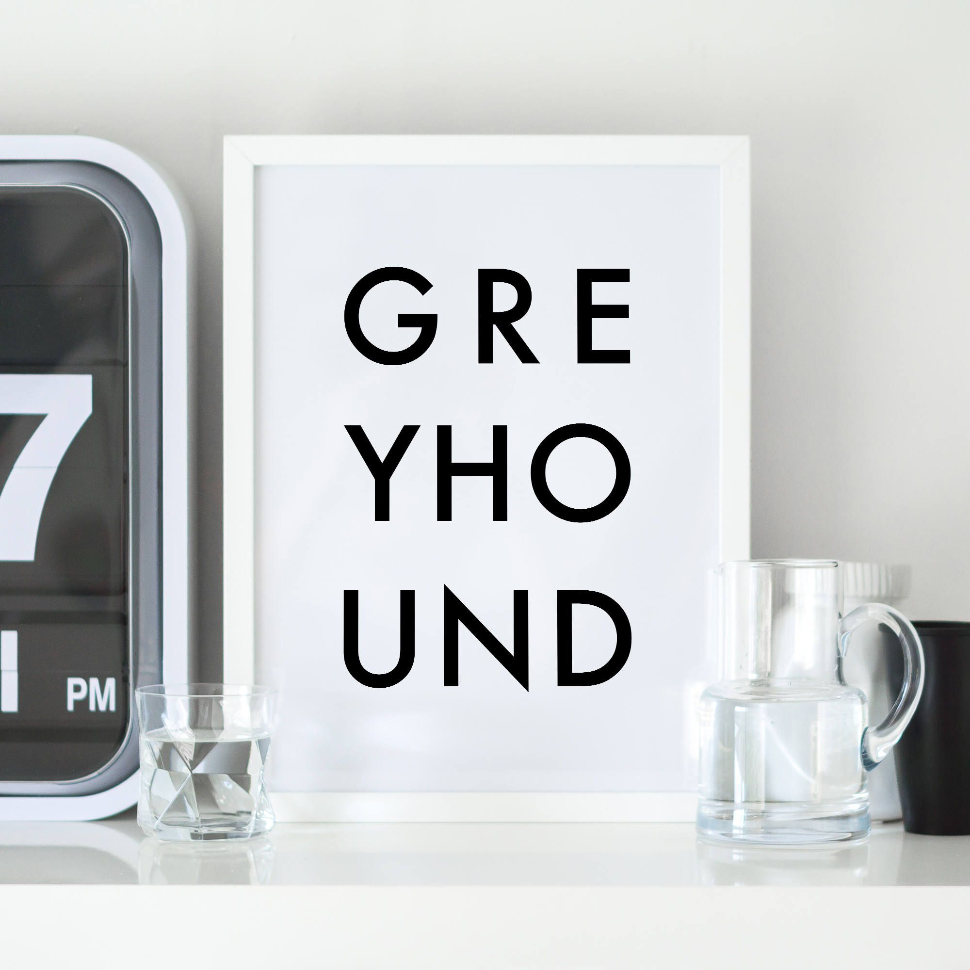Greyhound digital print digital download printable art wall art