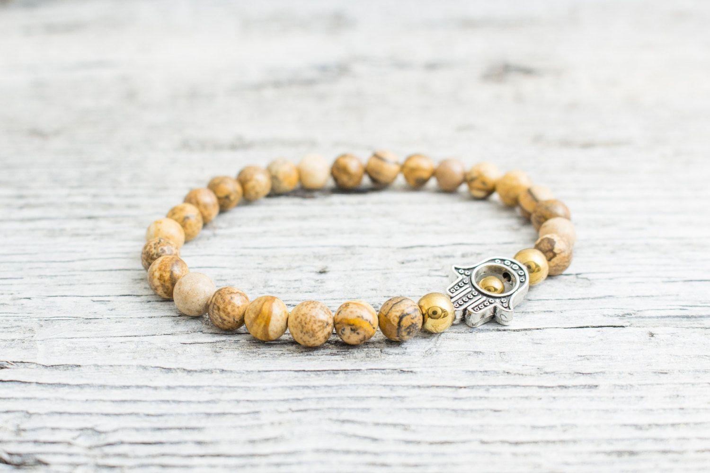 Jasper stone beaded stretchy silver Hamsa hand bracelet with gold plated hematite beads, yoga bracelet, mens bracelet, womens #bracelet