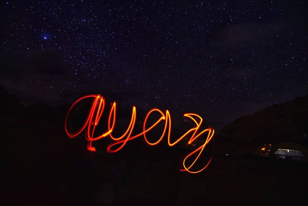 Light painting under the stars. Wadi Rum, Jordan.  Worth it to get out in the mi…