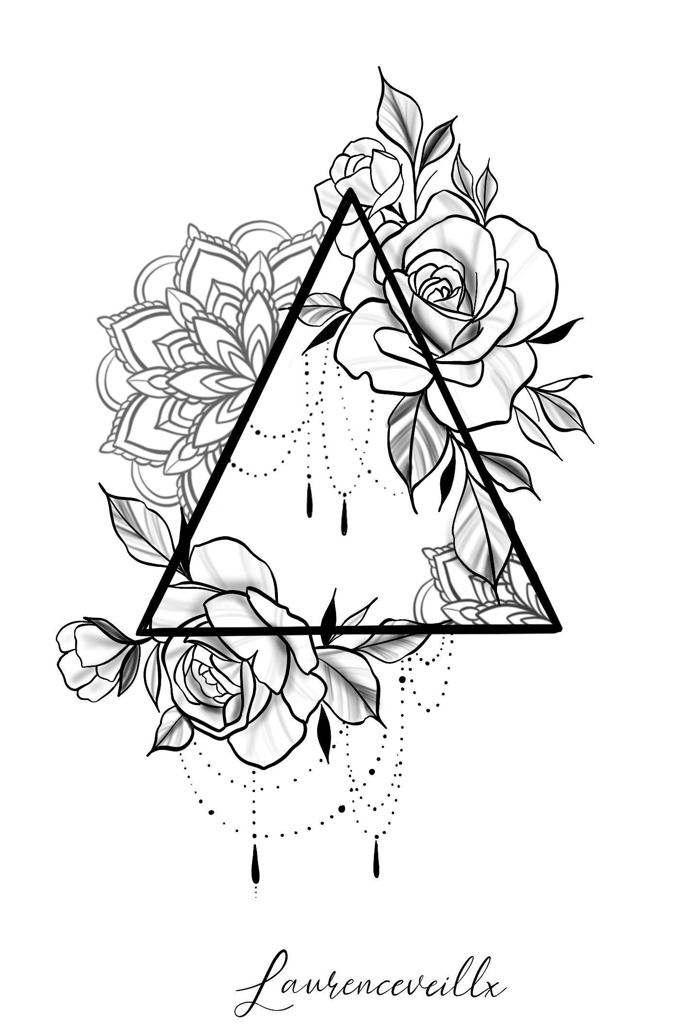 Photo of Triangle Rose Mandala Chain Tattoo Design Tattoo Design – Laurenceveill …