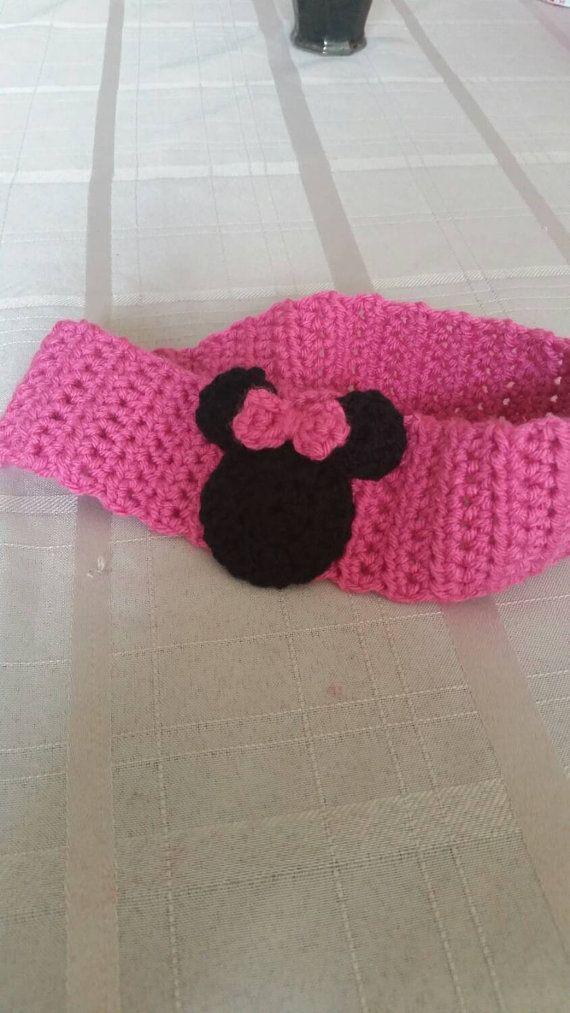 This is a cute handmade crochet disney headband. I used fushia for ...