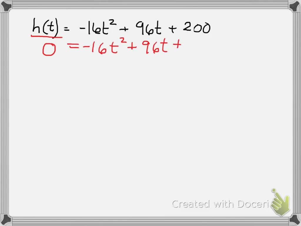 hight resolution of Quadratic Equations with Projectile Motion   Quadratics