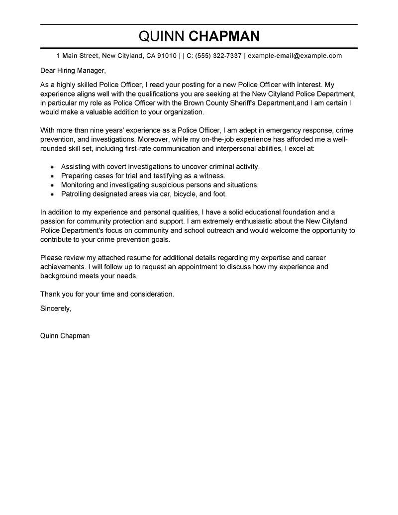 Police Officer Cover Letter Examples Emergency Services  Home