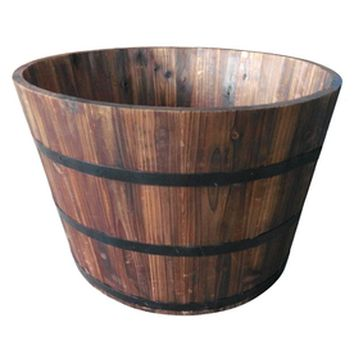 Lowes Garden Treasures Carbon Black Wood Barrel Wood Barrel Planters Barrel Planter Whiskey Barrel Planter
