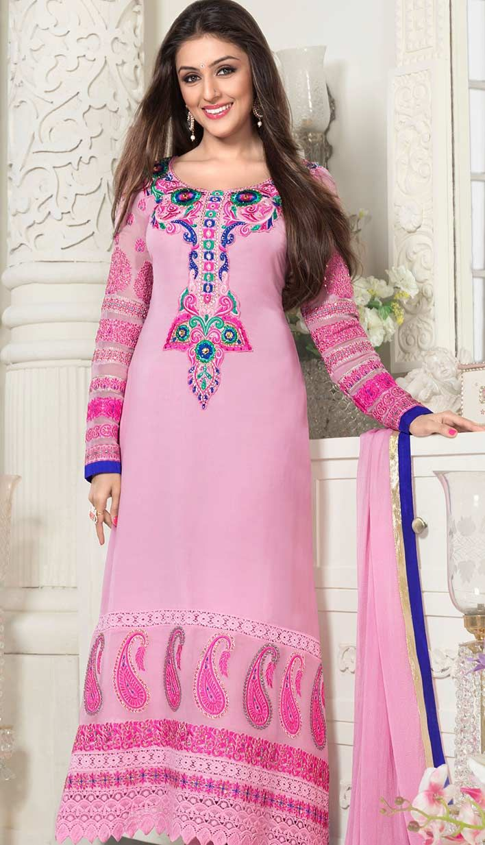 6f9c7b8eb3 This lovely baby pink color georgette #designer suit is showing resham,  sequins, lace and patch work with beautiful heavily worked sleeves,  neckline and ...