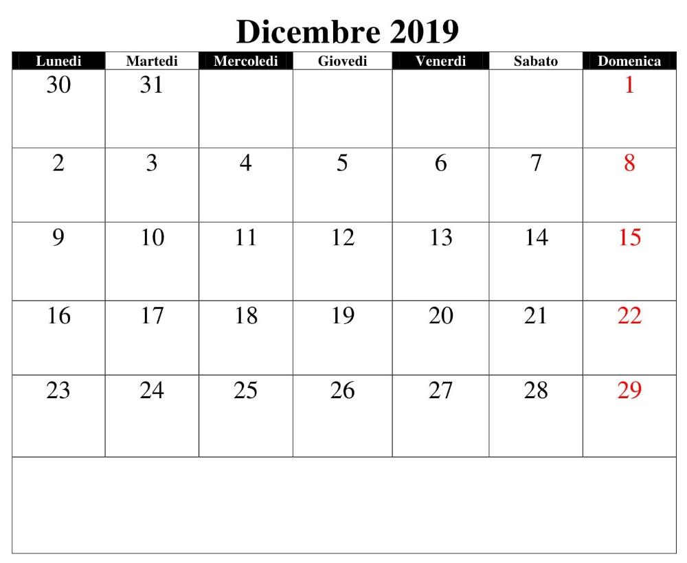 Calendario Dicembre 2019 Excel.Documento Calendario Dicembre 2019 Calendario Diciembre 2019