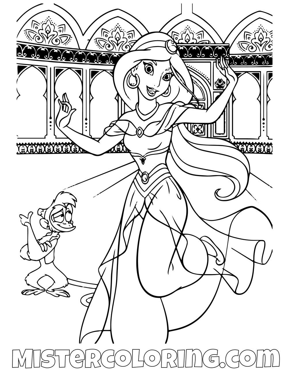 Princess Jasmine And Abu Dancing Aladdin Coloring Page For Kids