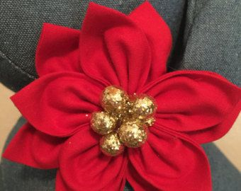 Flower Collar Attachment Accessory For Dogs And Cats Christmas Poinsettia Flower Christmas Cats Christmas Poinsettia Poinsettia Flower