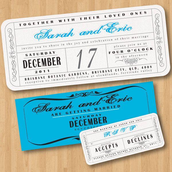 Vintage Wedding Ticket Style Invitations DIY Set printable