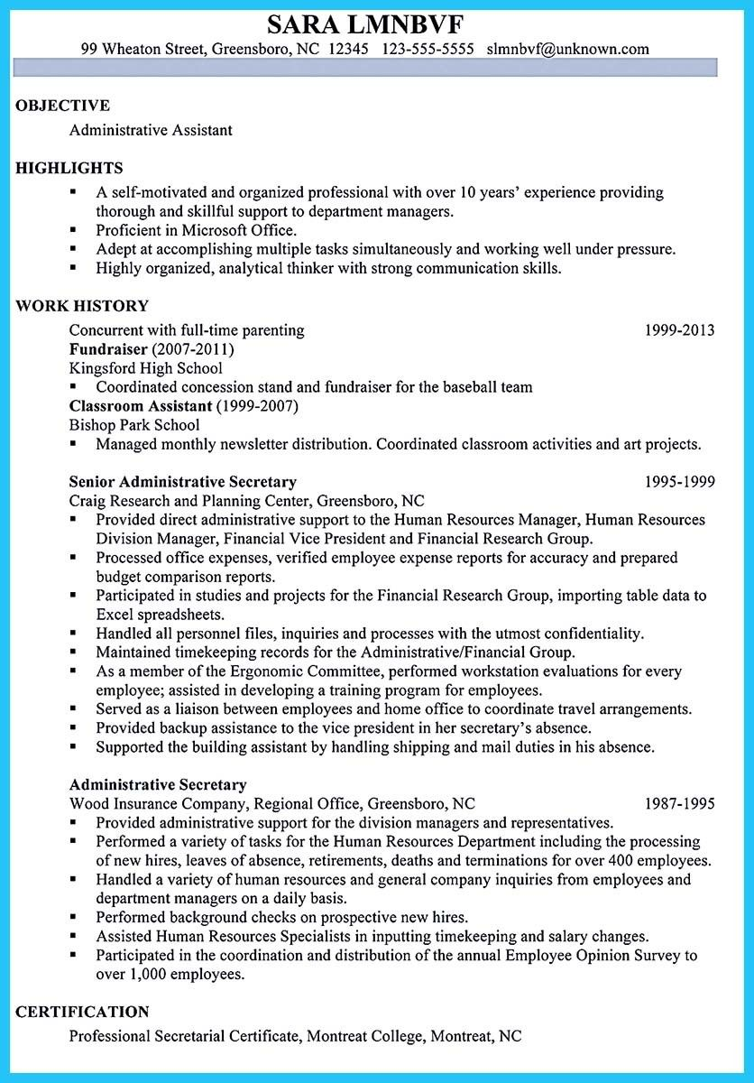 nice Best Administrative Assistant Resume Sample to Get Job Soon ...