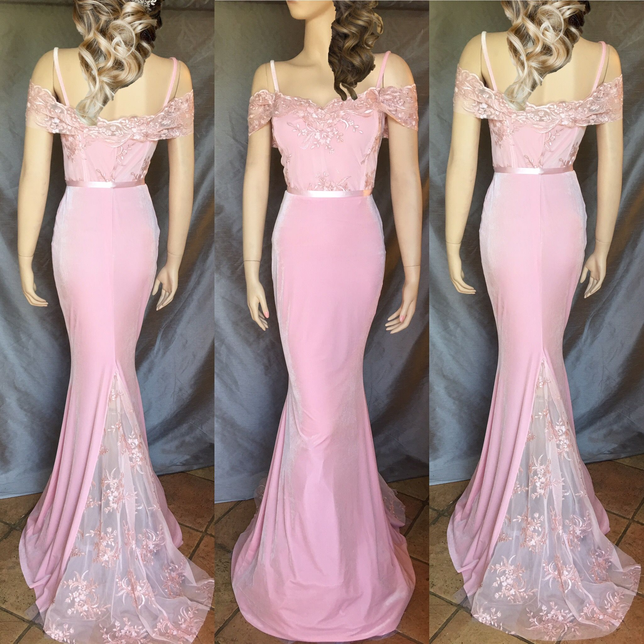 Lace Mermaid Style Bridesmaids Dress Prom Dress Open Back Handmade ...