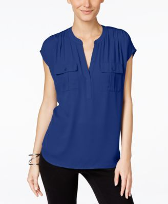 Inc International Concepts Mixed Media Utility Shirt Only At Macy S