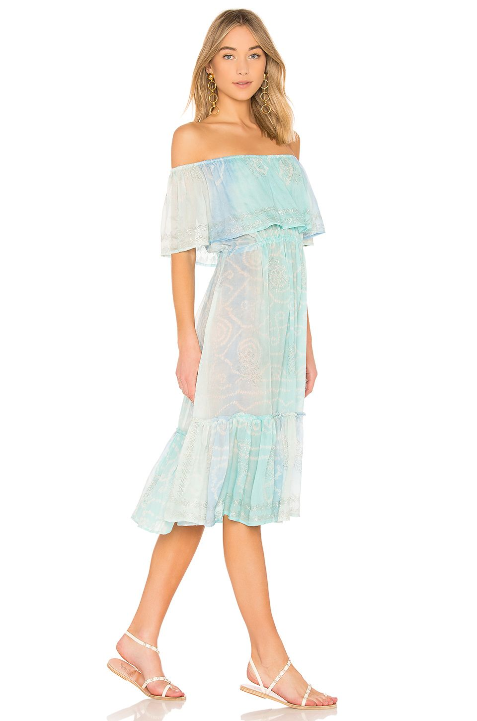 de2d6020aabd juliet dunn Off the Shoulder Dress in Aqua & Blue | Fashion ...