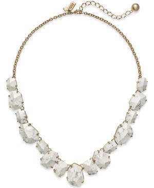 kate spade new york 12k Gold-Plated Faceted Stone Frontal Necklace - White