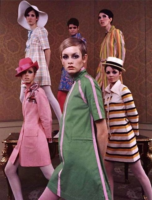 9a16ef69e77f4 Twiggy and other models for Betsey Johnson in 1967 -- Betsey was the house  designer for Paraphernalia and Youthquake then