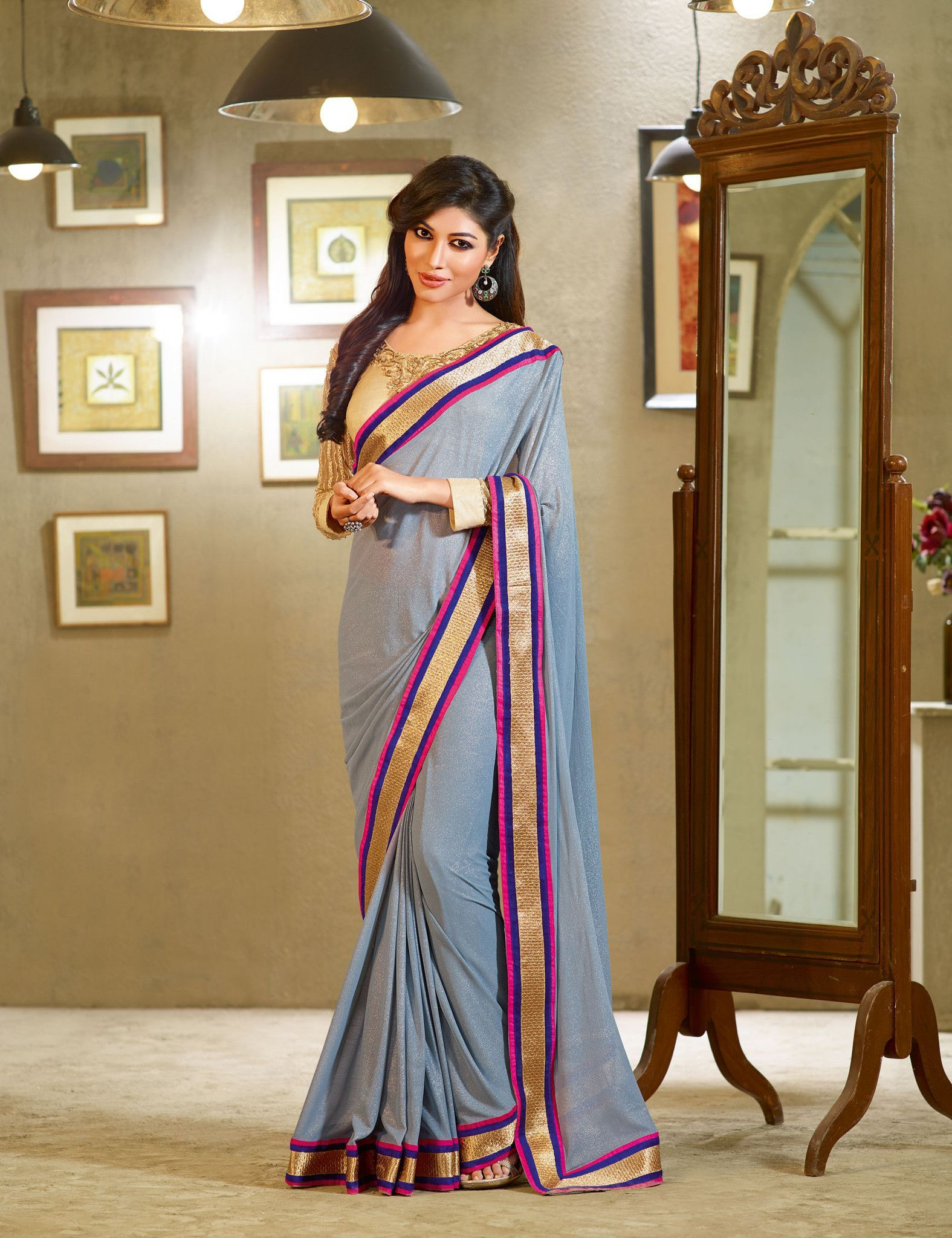Grey Georgette Saree With Lace Border