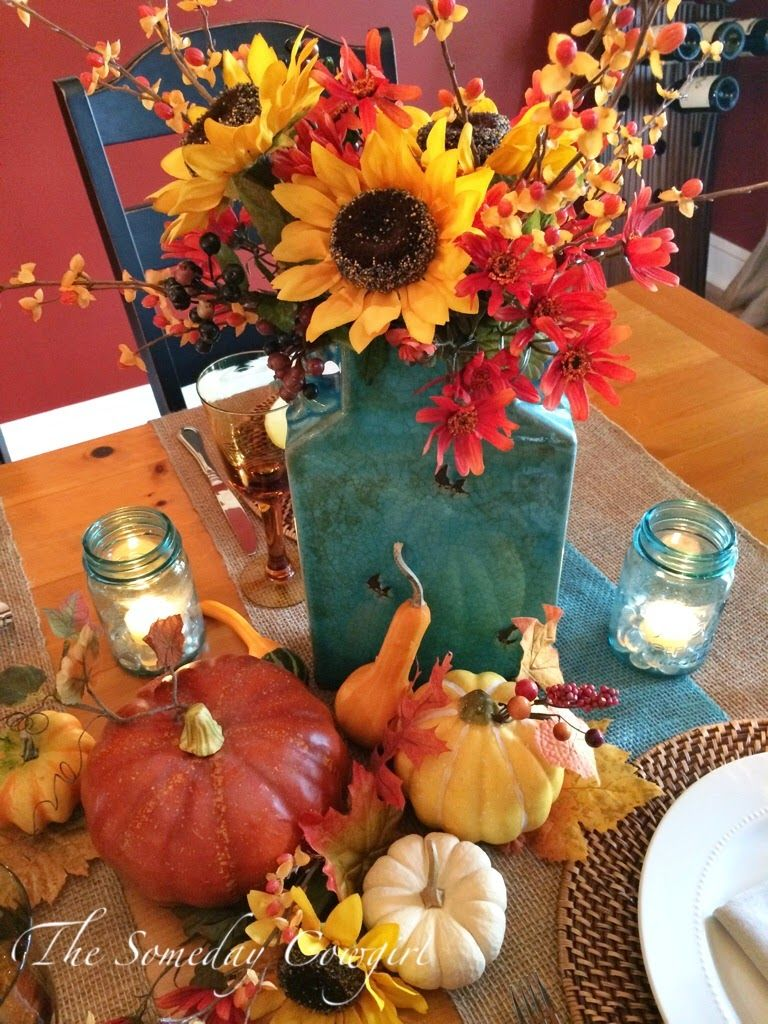 A Touch of Turquoise Orange fall decor, Sunflower decor