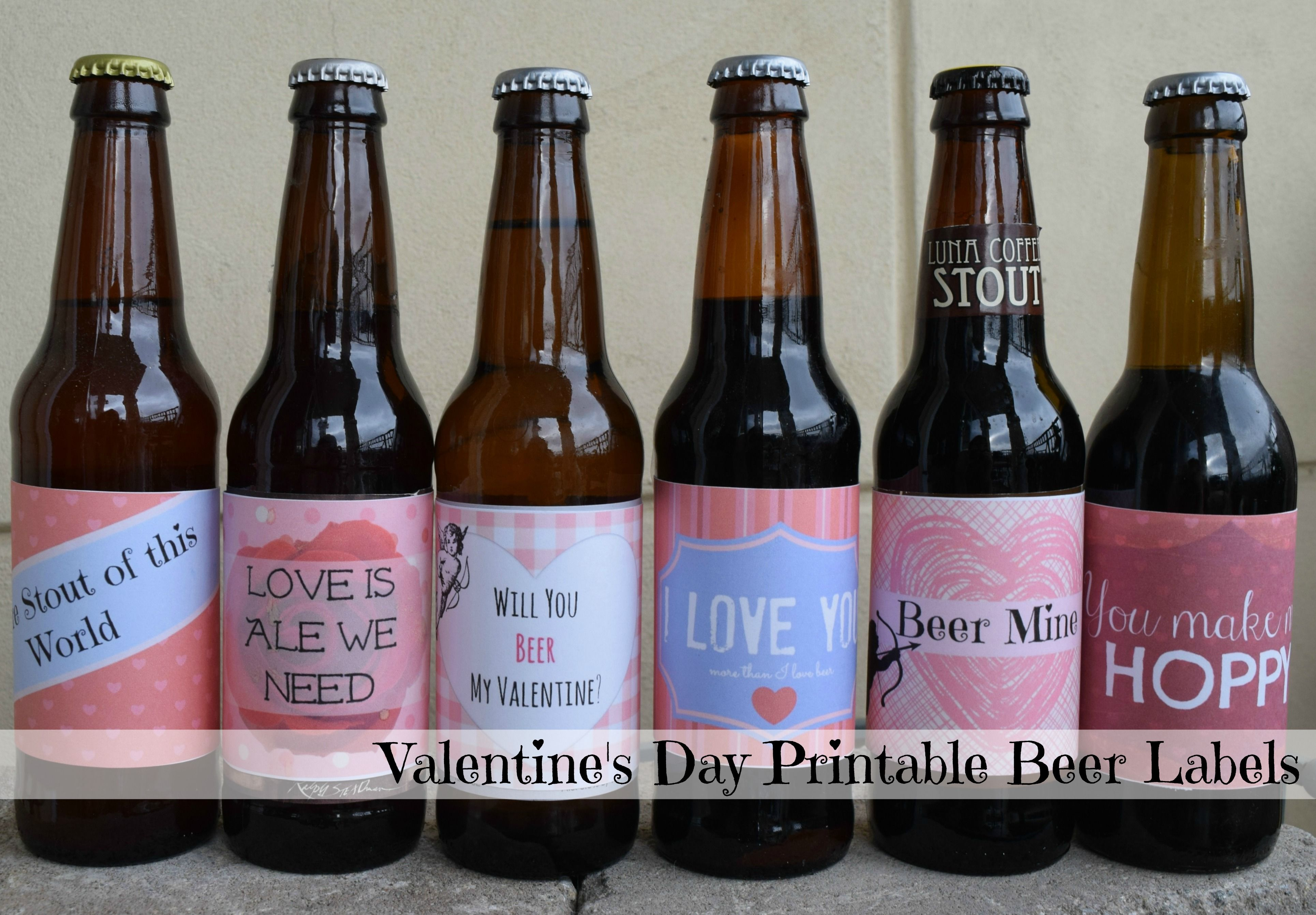 photo relating to Printable Beer Labels referred to as Free of charge Valentines Working day Beer Label Printables Components Beer