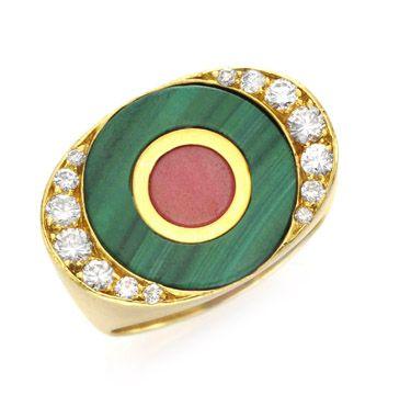 FD GALLERY   Rare & Vintage   A Malachite, Rhodonite and Diamond Ring, by Bulgari, circa 1960