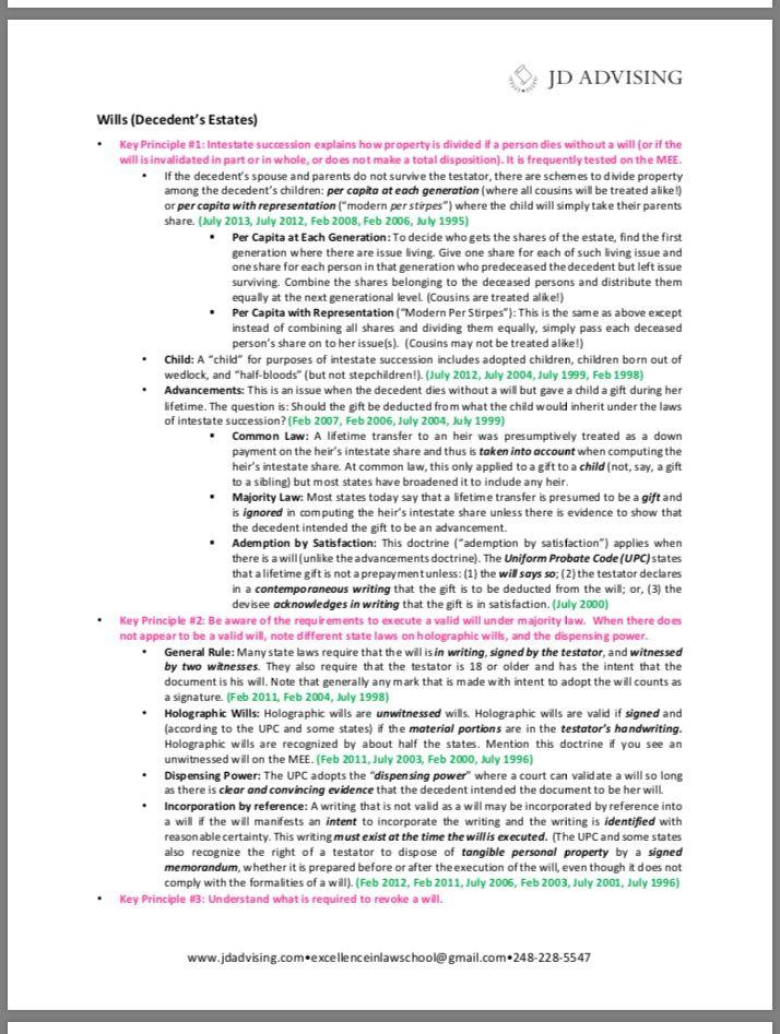 MEE OneSheets (Multistate Essay Exam OneSheets Resume