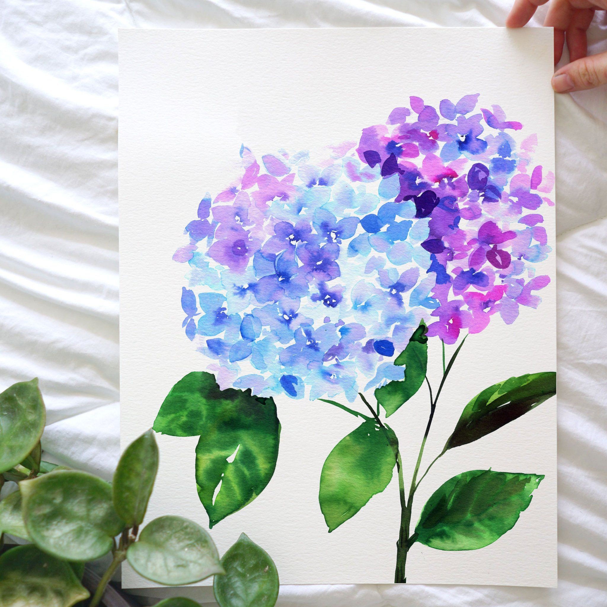 Hydrangea Watercolor Kit Watercolor Flowers Tutorial Watercolor Kit Dandelion Painting