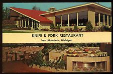 Vintage 1964 Knife Fork Restaurant Iron Mountain Michigan Postcard Mid Century
