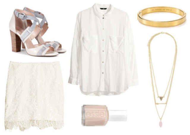 White heels, white shirt, white lace skirt, blush pink nail polish, gold bracelet, gold necklaces