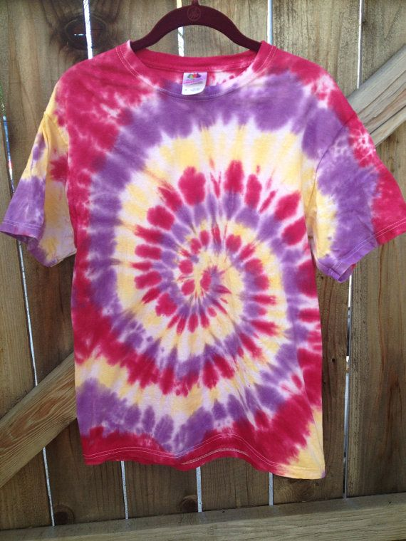 0883abf5ff2bc Small/ Medium/ Large/ XL Red, Purple and Yellow Tie Dye Tee on Etsy ...