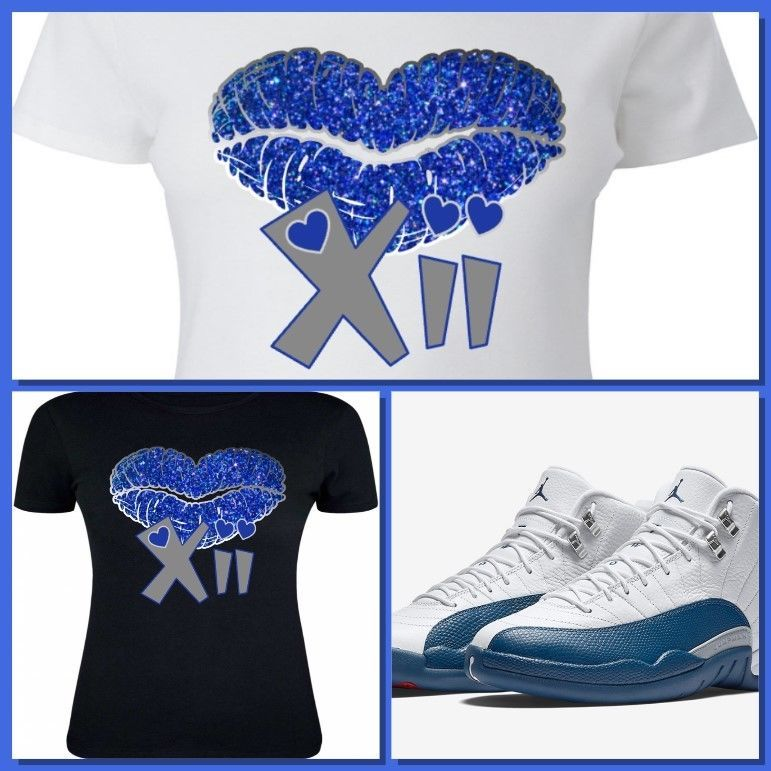 c7ea43375c9c LADIES   WOMEN GIRLS TEE SHIRT to match AIR JORDAN 12 FRENCH BLUE! BLUE  KISS XII  COPEMCUSTOMS  GraphicTee