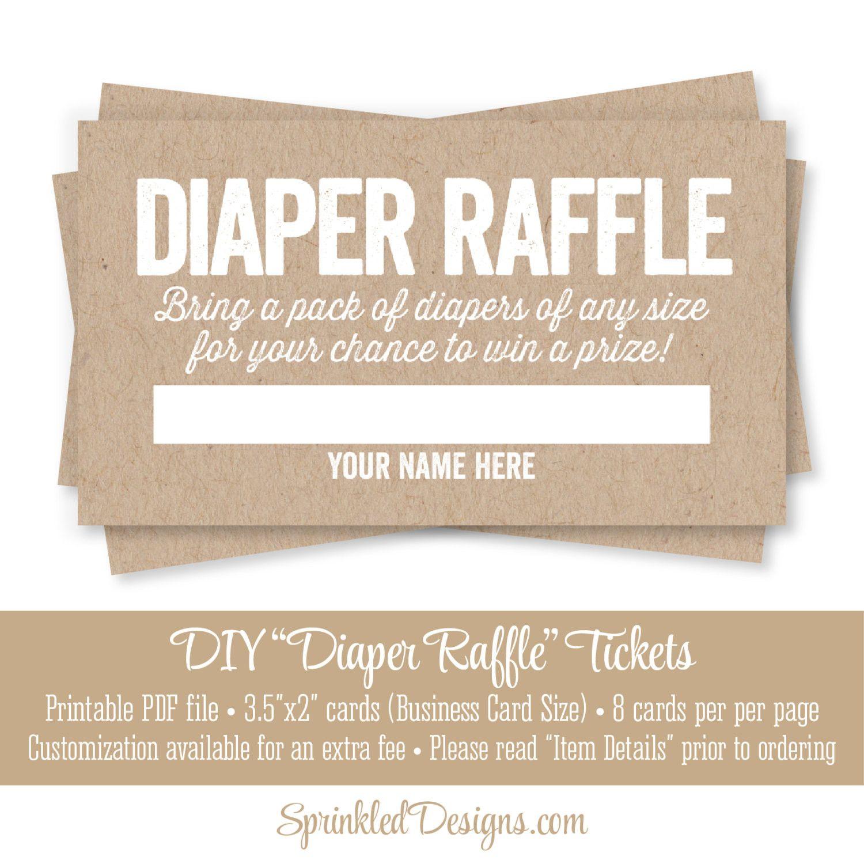 Printable Diaper Raffle Tickets Rustic Brown Kraft Paper Fun Baby