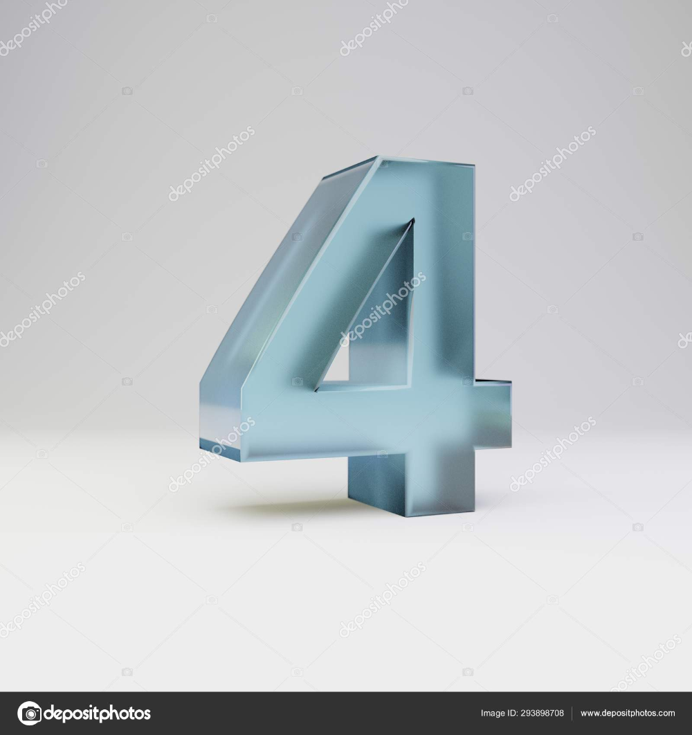 Download Ice 3d Number 4 Transparent Ice Font With Glossy Reflections And Shadow Isolated On White Background Stock Image