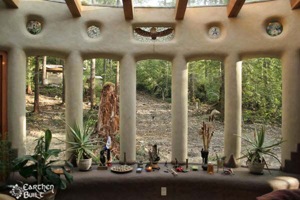strawbale solarium | This large window spread warms the solarium on the South side of ...