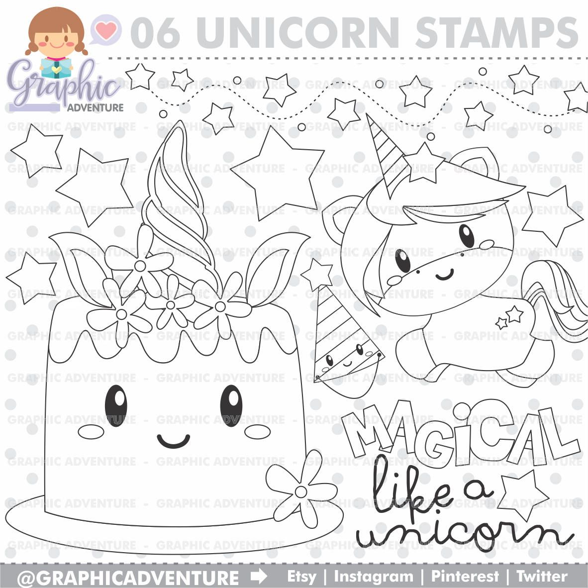 Unicorn Stamp Birthday Stamp COMMERCIAL USE Digi Stamp