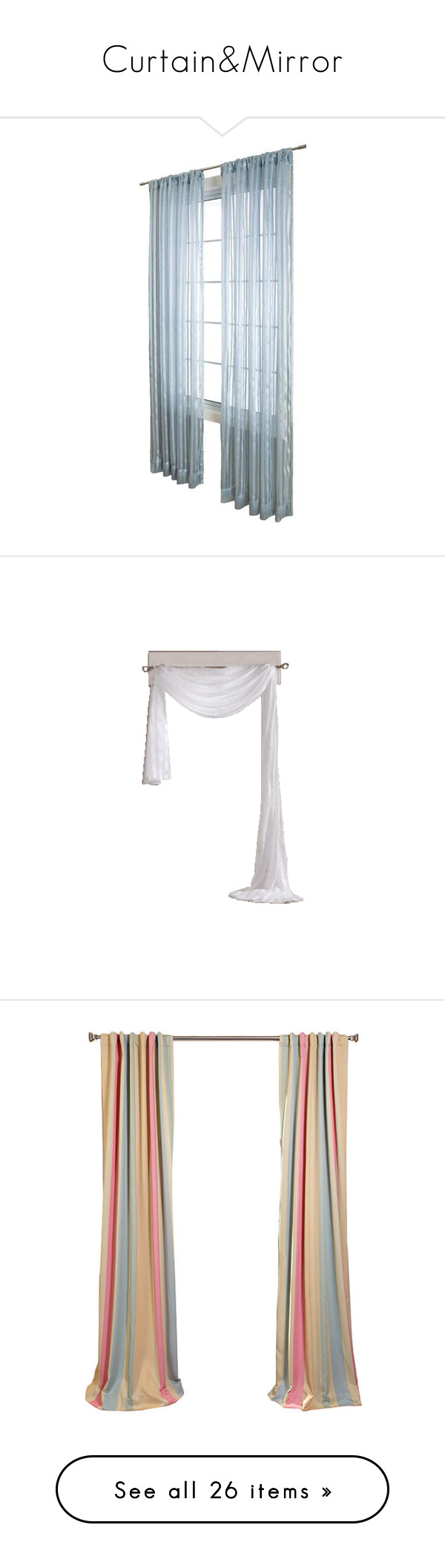 """""""Curtain&Mirror"""" by lnchome ❤ liked on Polyvore featuring curtains, drapes, valance, windows, home, home decor, window treatments, blackout window treatments, stripe curtain panel and blackout drapery"""