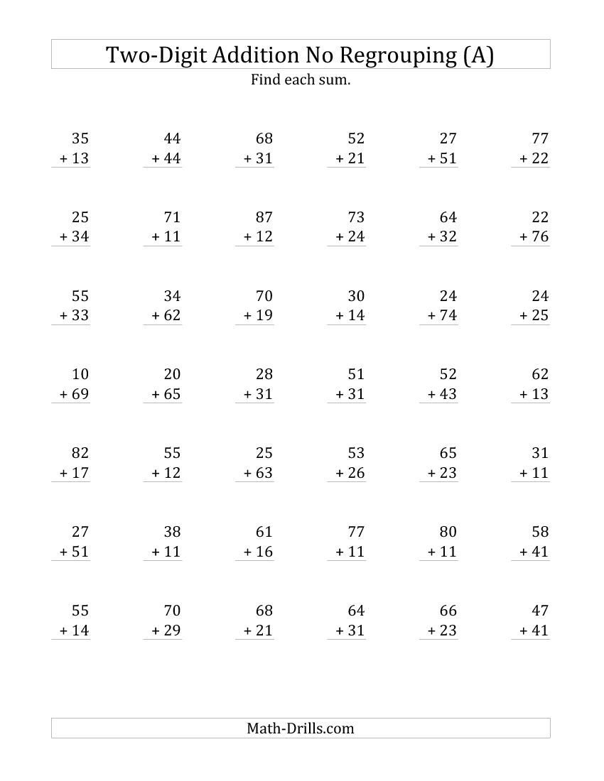 2 Digit Addition With No Regrouping All Addition Worksheets Math Fact Worksheets Free Math Worksheets