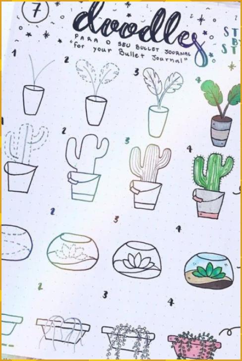 20 Beste Sukkulenten- & Kaktus-Doodle-Ideen für Bujo-Süchtige #beste #doodle #ideen #Kaktus #succule
