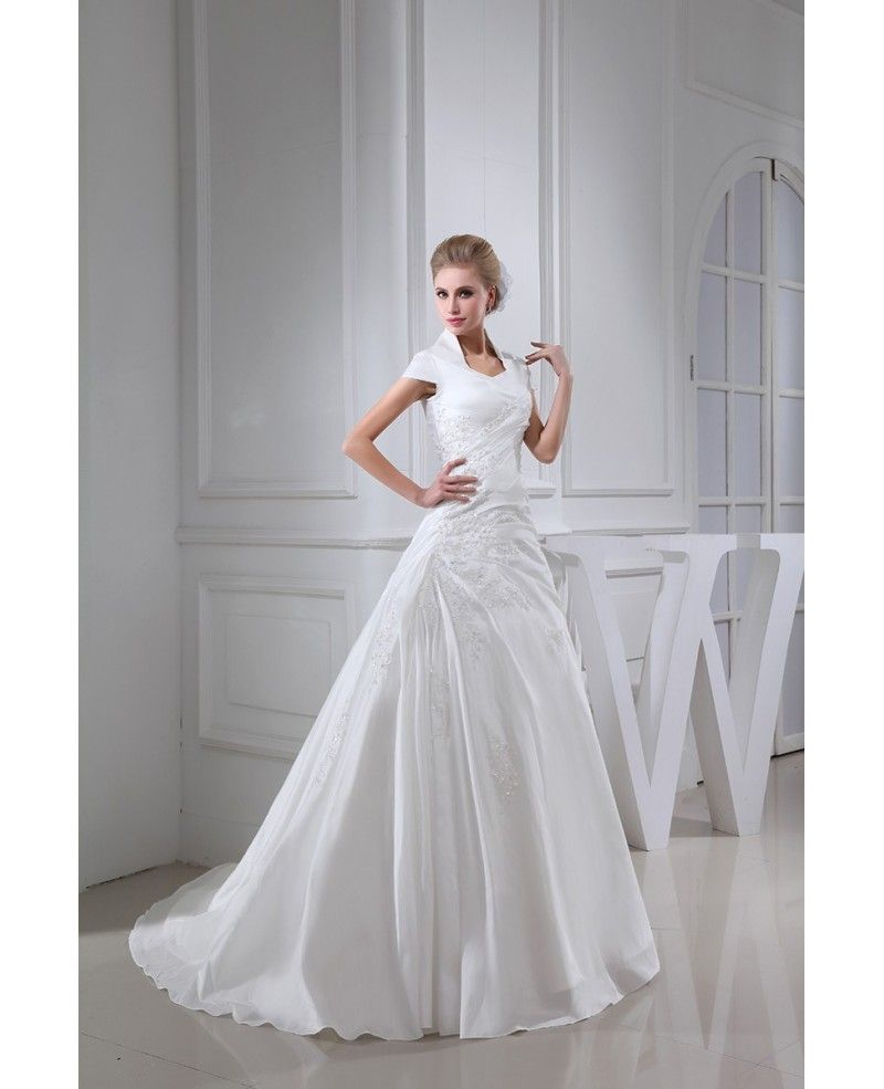 High neck taffeta cap sleeved lace wedding dress oph