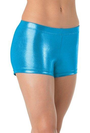 Balera Booty Shorts Girls for Dance Metallic Bottoms Spandex