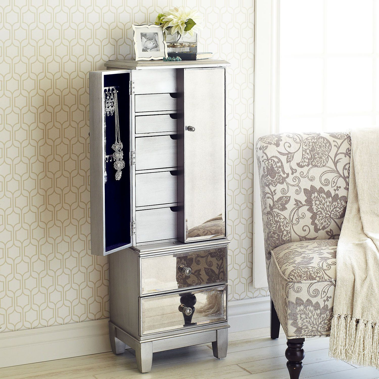 Hayworth mirrored silver jewelry armoire armoires dressing table