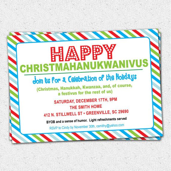 Funny Christmas Holiday Party Invitation christmahanukwanzaakah – Funny Christmas Party Invitations
