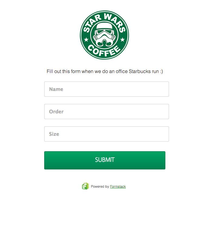 Use a form to take in-office coffee orders Simple \ clean form - hipaa compliant release form