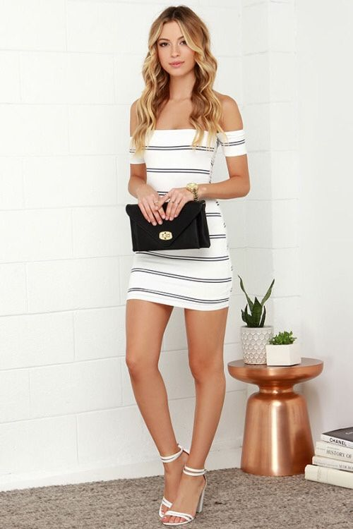 Little White Dress And Ankle Strap High Heels Sandals