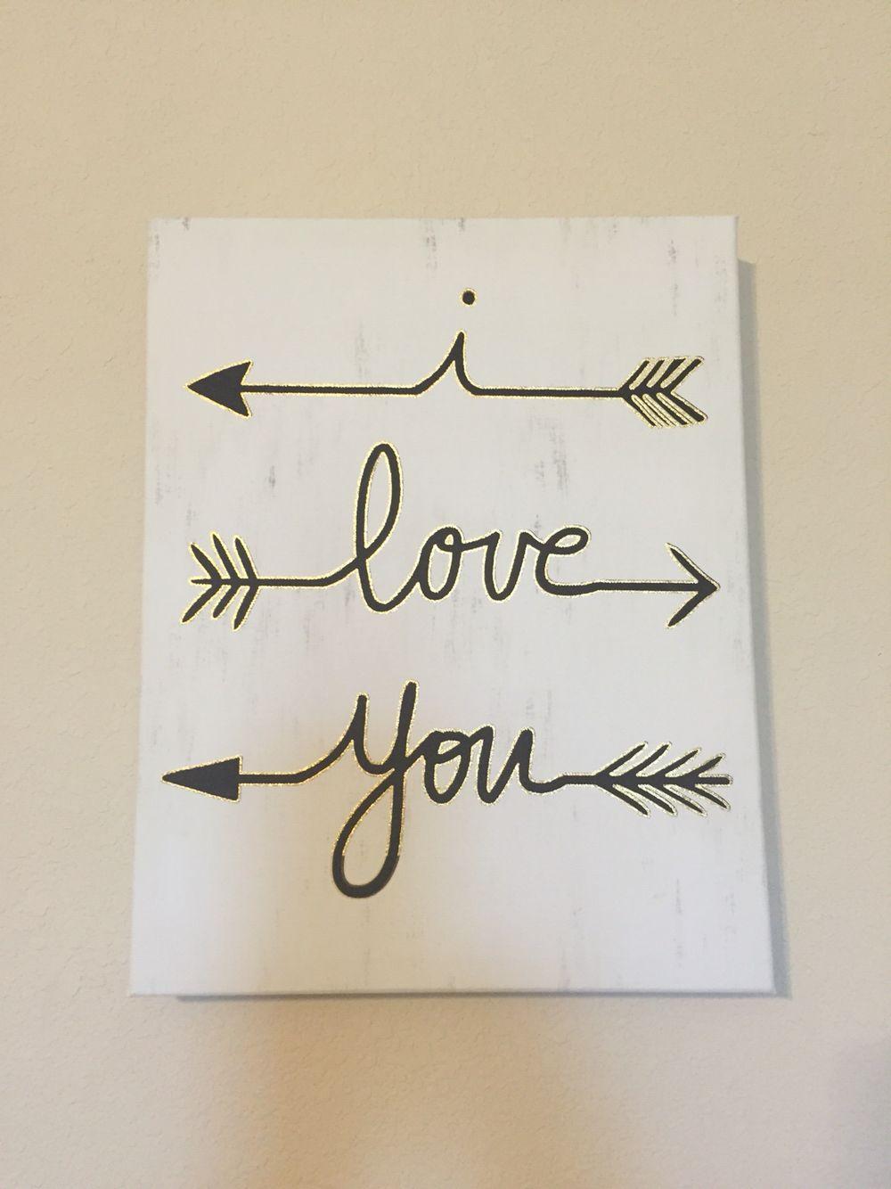 I love you arrow wall art purchased at hobby lobby wall decor