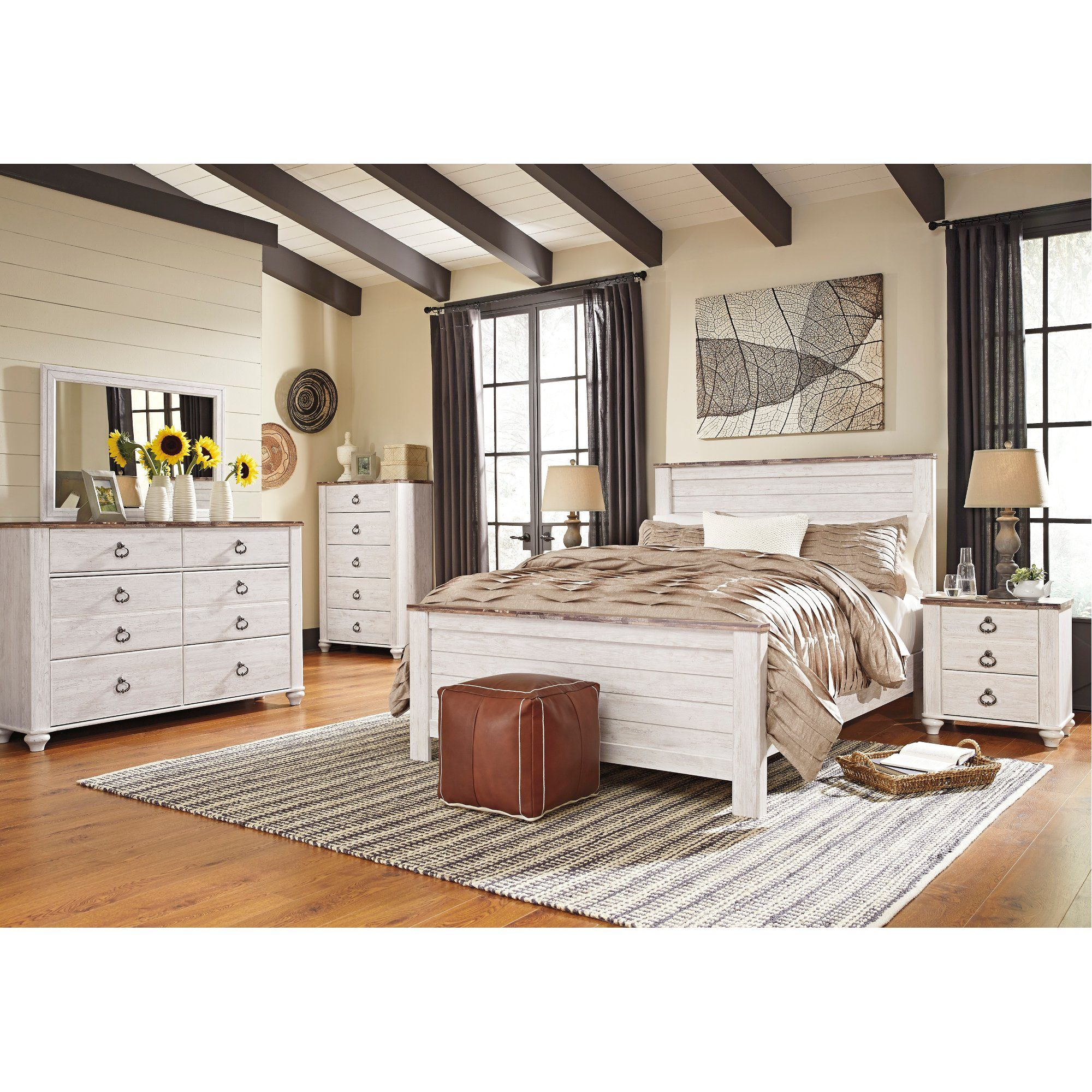 Classic Rustic Whitewash 4 Piece Queen Bedroom Set Millhaven Bedroom Set Bedroom Sets Queen Bedroom Furniture Sets