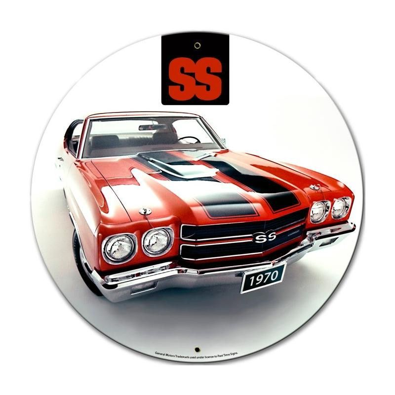 From The General Motors Licensed Collection This 1970 Chevrolet Chevelle Round Metal Sign Measures 28 Inches B Chevrolet Chevelle Muscle Cars Chevy Muscle Cars