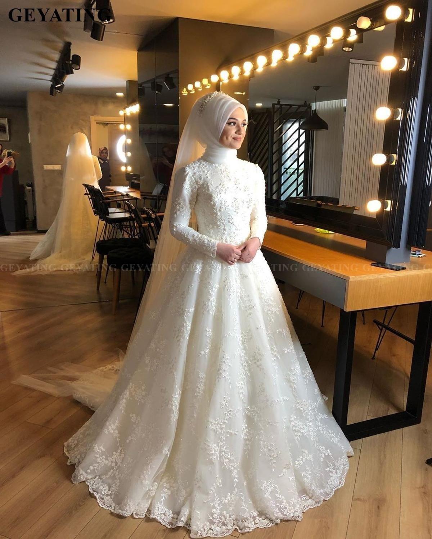 46 Fabulous Wedding Dresses For Muslim Brides Pouted Com Muslim Wedding Dresses Long Sleeve Bridal Gown High Neck Long Sleeve Wedding Dress