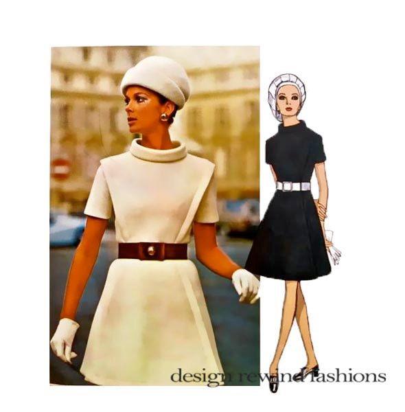 1960s VOGUE DRESS PATTERN MoD Cocktail Evening Day Dresses Pierre ...