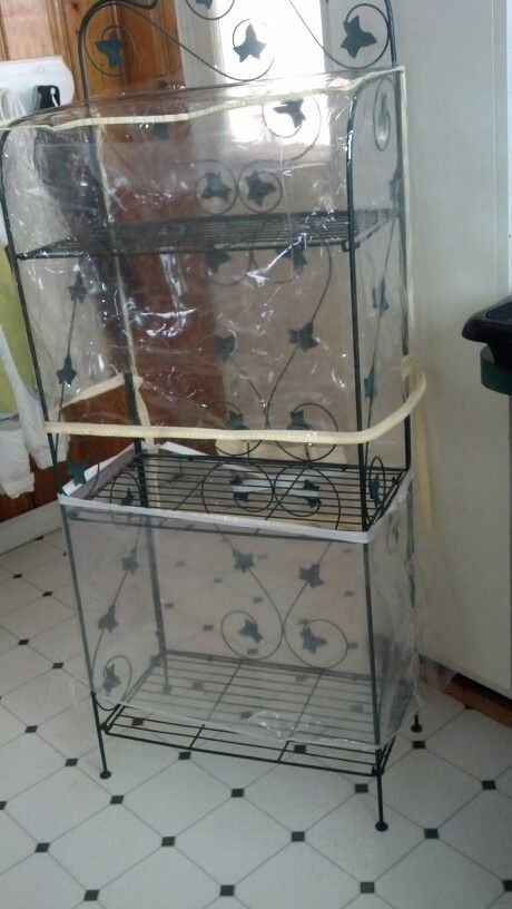 Make Your Own Greenhouse Old Bakers Rack And Bed In A Bag Plastic